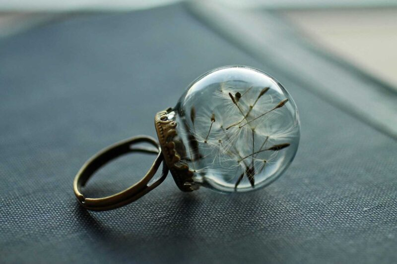 Real dandelion ring handcrafted jewellery