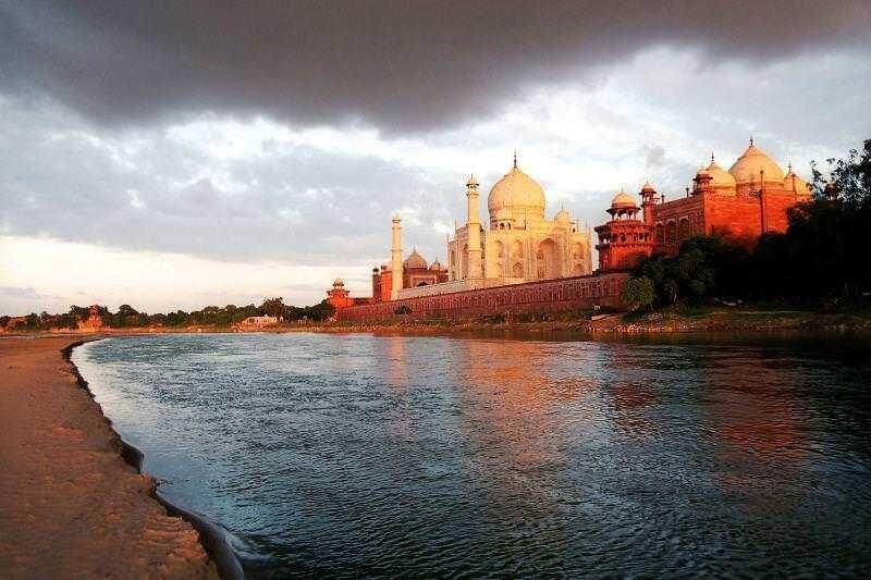 The Sunset At The Taj Mahal, India