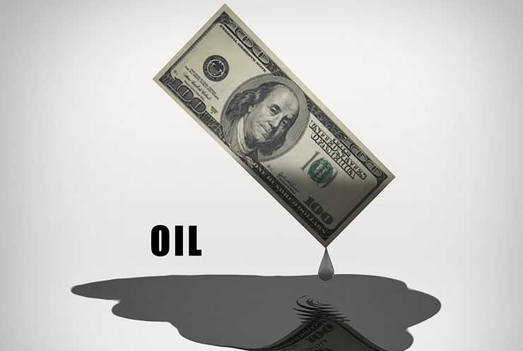 Oil drips from US 100 Dollar Bill