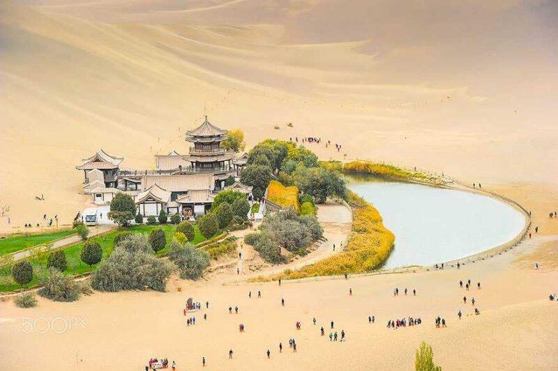 Crescent Moon Lake At Dunhuang