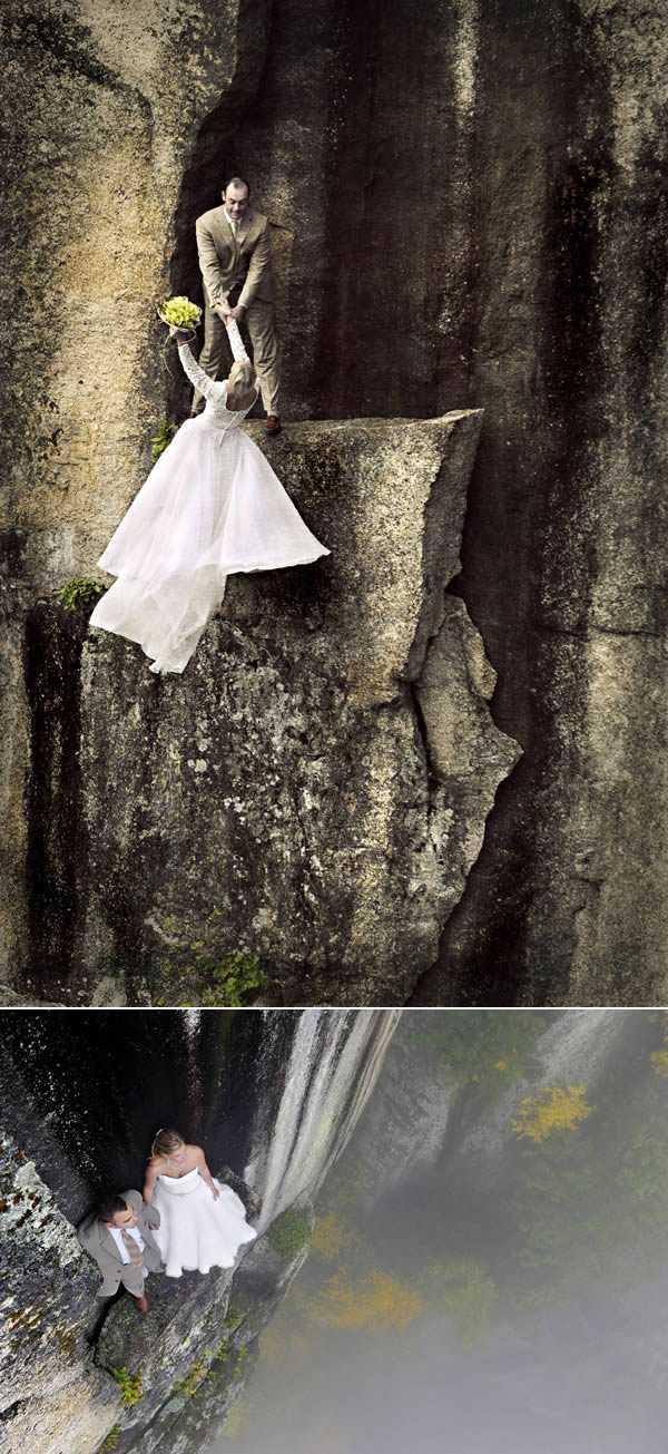 wedding photos taken 350 feet up