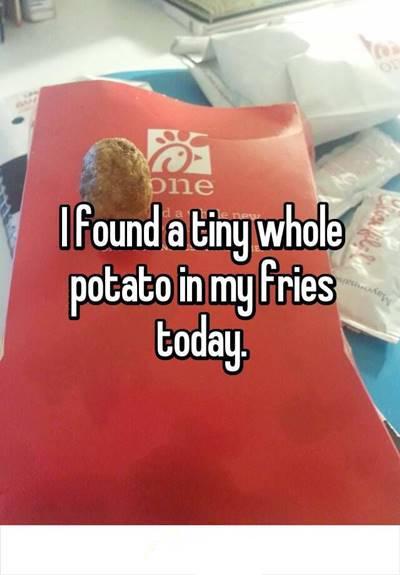 """42 Funny Potato Memes """"I found a tiny whole potato in my fries today."""""""