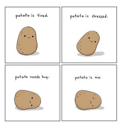 "42 Funny Potato Memes ""Potato is tired. Potato is stressed. Potato needs hug. potato is me."""