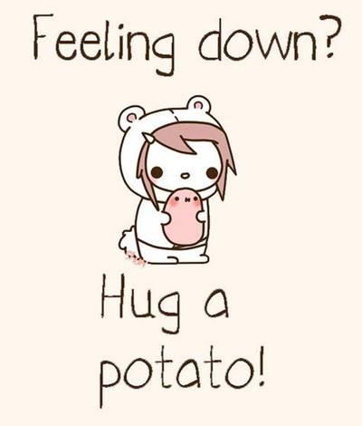 """42 Funny Potato Memes """"Feeling down? Hug a potato!"""""""