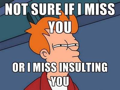 """45 Cute I Miss You Memes """"Not sure if I miss you or I miss insulting you."""""""